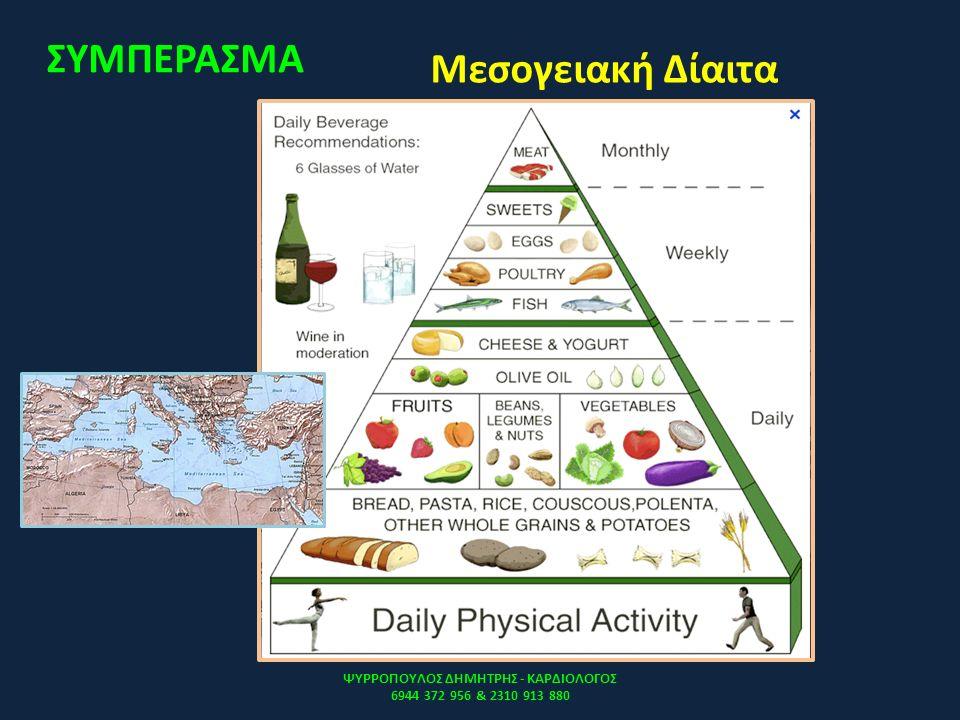 Μεσογειακή Δίαιτα ΨΥΡΡΟΠΟΥΛΟΣ ΔΗΜΗΤΡΗΣ - ΚΑΡΔΙΟΛΟΓΟΣ 6944 372 956 & 2310 913 880 ΣΥΜΠΕΡΑΣΜΑ