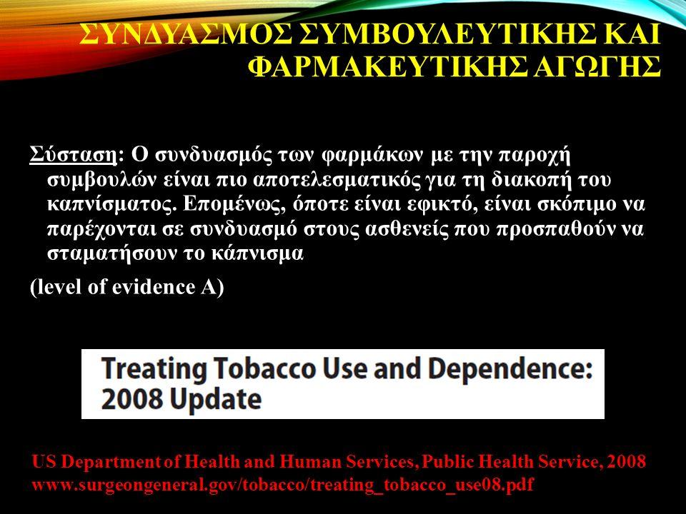 ΣΥΝΔΥΑΣΜΟΣ ΣΥΜΒΟΥΛΕΥΤΙΚΗΣ ΚΑΙ ΦΑΡΜΑΚΕΥΤΙΚΗΣ ΑΓΩΓΗΣ Σύσταση: Ο συνδυασμός των φαρμάκων με την παροχή συμβουλών είναι πιο αποτελεσματικός για τη διακοπή του καπνίσματος.