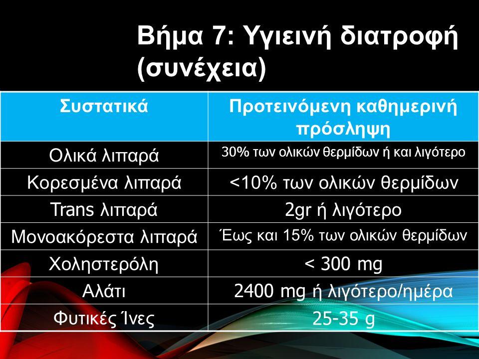 ΣυστατικάΠροτεινόμενη καθημερινή πρόσληψη Ολικά λιπαρά 30% των ολικών θερμίδων ή και λιγότερο Κορεσμένα λιπαρά<10% των ολικών θερμίδων Trans λιπαρά 2 gr ή λιγότερο Μονοακόρεστα λιπαρά Έως και 15% των ολικών θερμίδων Χοληστερόλη < 300 mg Αλάτι 2400 mg ή λιγότερο/ημέρα Φυτικές Ίνες 25-35 g Βήμα 7: Υγιεινή διατροφή (συνέχεια)