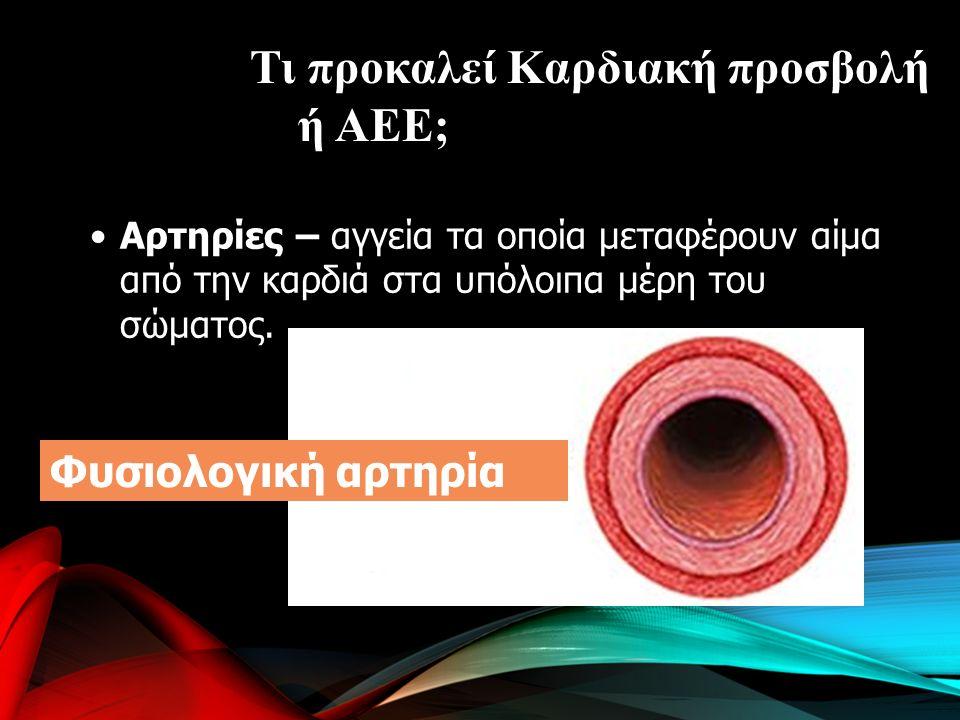 Αρτηρίες – αγγεία τα οποία μεταφέρουν αίμα από την καρδιά στα υπόλοιπα μέρη του σώματος.