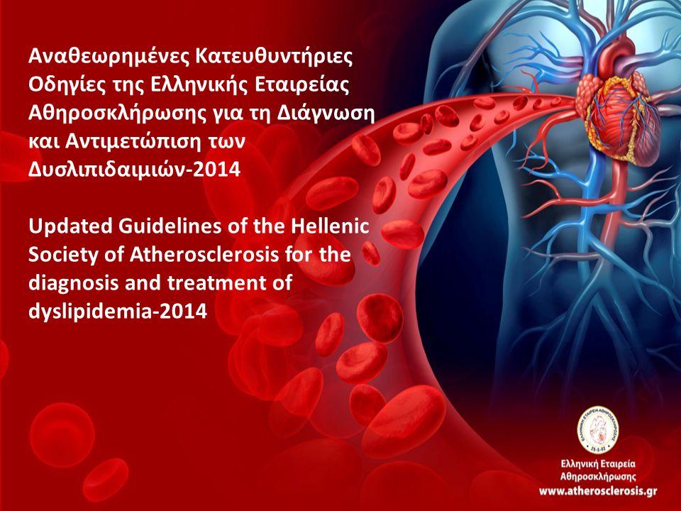 ΚΑΤΗΓΟΡΙΑ ΚΙΝΔΥΝΟΥ ΠΟΛΥ ΥΨΗΛΟΣ: ΚΑΝ, ΣΔ2, ΣΔ1 >40 ετών, μέτρια- σοβαρή ΧΝΝ, Hellenic Heart SCORE>10% ΥΨΗΛΟΣ: SCORE 5-10%, ή 1 πολύ επιβαρυντικός παράγοντα κινδύνου, Οικογ.