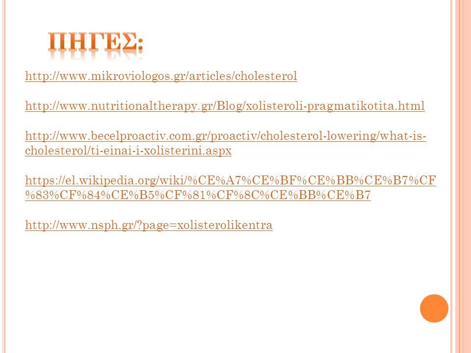 http://www.mikroviologos.gr/articles/cholesterol http://www.nutritionaltherapy.gr/Blog/xolisteroli-pragmatikotita.html http://www.becelproactiv.com.gr