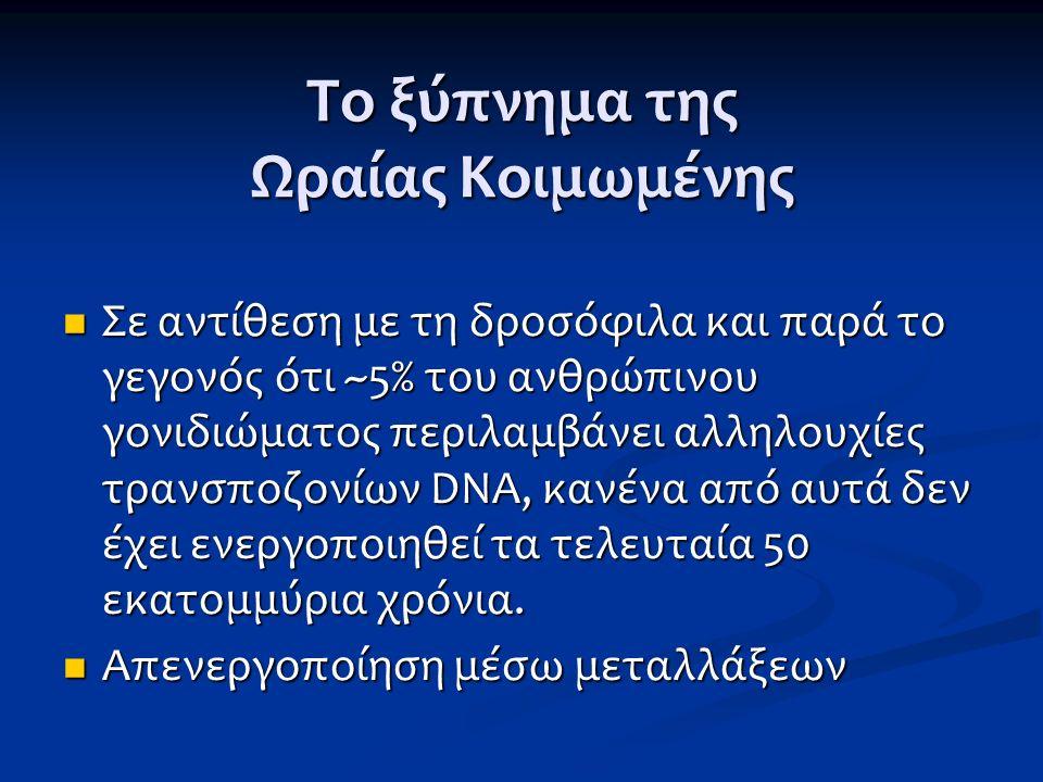 Το ξύπνημα της Ωραίας Κοιμωμένης Σε αντίθεση με τη δροσόφιλα και παρά το γεγονός ότι ~5% του ανθρώπινου γονιδιώματος περιλαμβάνει αλληλουχίες τρανσποζ