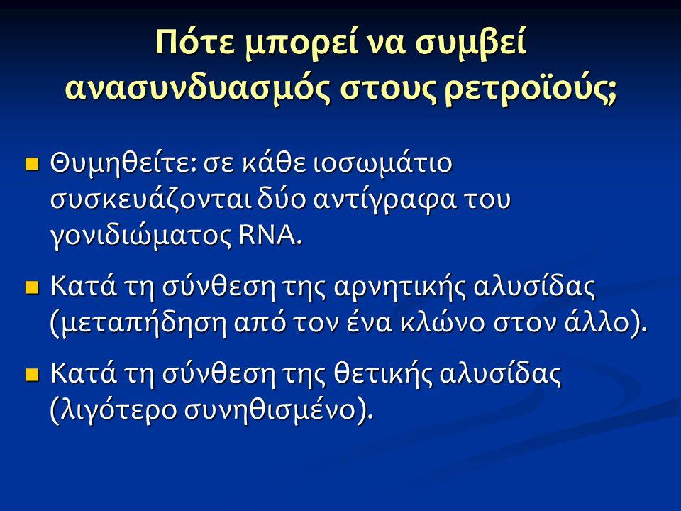Πότε μπορεί να συμβεί ανασυνδυασμός στους ρετροϊούς; Θυμηθείτε: σε κάθε ιοσωμάτιο συσκευάζονται δύο αντίγραφα του γονιδιώματος RNA. Θυμηθείτε: σε κάθε
