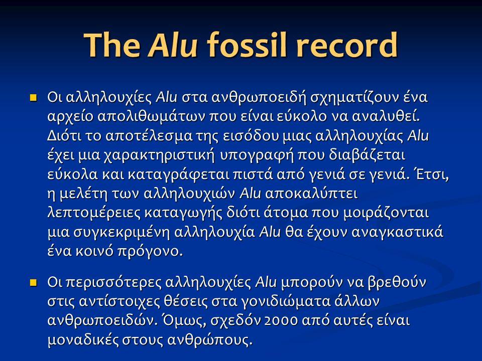 The Alu fossil record Οι αλληλουχίες Alu στα ανθρωποειδή σχηματίζουν ένα αρχείο απολιθωμάτων που είναι εύκολο να αναλυθεί. Διότι το αποτέλεσμα της εισ