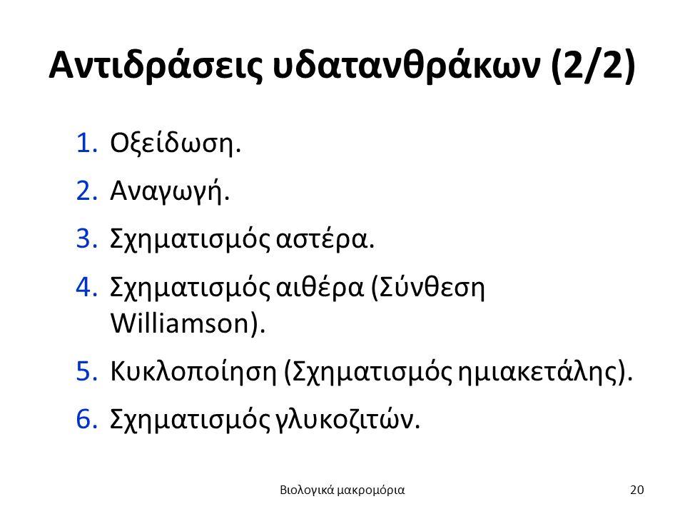 Αντιδράσεις υδατανθράκων (2/2) 1.Οξείδωση. 2.Αναγωγή. 3.Σχηματισμός αστέρα. 4.Σχηματισμός αιθέρα (Σύνθεση Williamson). 5.Κυκλοποίηση (Σχηματισμός ημια