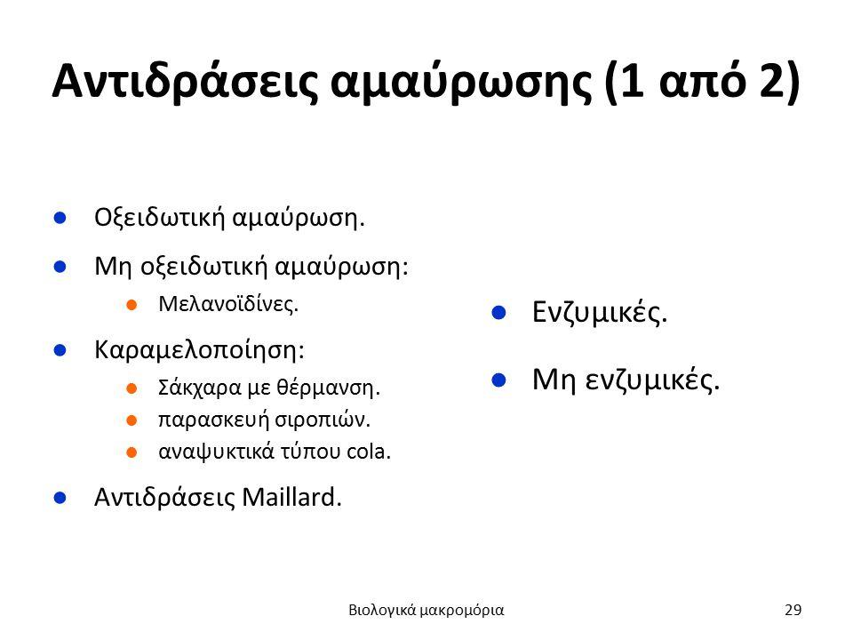 Αντιδράσεις αμαύρωσης (1 από 2) ●Οξειδωτική αμαύρωση. ●Μη οξειδωτική αμαύρωση: ●Μελανοϊδίνες. ●Καραμελοποίηση: ●Σάκχαρα με θέρμανση. ●παρασκευή σιροπι