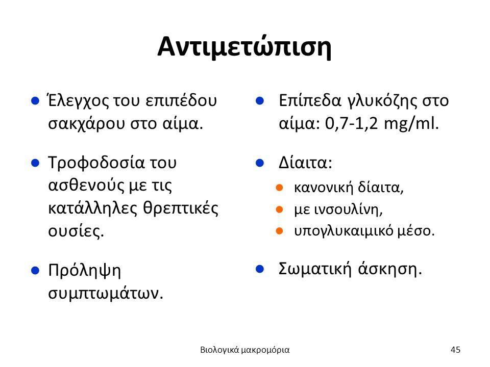 Αντιμετώπιση ●Έλεγχος του επιπέδου σακχάρου στο αίμα. ●Τροφοδοσία του ασθενούς με τις κατάλληλες θρεπτικές ουσίες. ●Πρόληψη συμπτωμάτων. ●Επίπεδα γλυκ