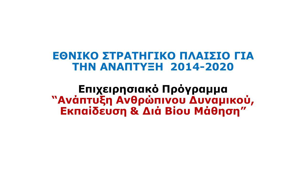 ΕΘΝΙΚΟ ΣΤΡΑΤΗΓΙΚΟ ΠΛΑΙΣΙΟ ΓΙΑ ΤΗΝ ΑΝΑΠΤΥΞΗ 2014-2020 Επιχειρησιακό Πρόγραμμα Ανάπτυξη Ανθρώπινου Δυναμικού, Εκπαίδευση & Διά Βίου Μάθηση