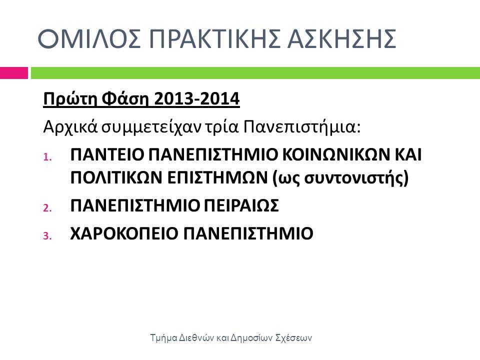 O ΜΙΛΟΣ ΠΡΑΚΤΙΚΗΣ ΑΣΚΗΣΗΣ Τμήμα Διεθνών και Δημοσίων Σχέσεων Πρώτη Φάση 2013-2014 Αρχικά συμμετείχαν τρία Πανεπιστήμια : 1. ΠΑΝΤΕΙΟ ΠΑΝΕΠΙΣΤΗΜΙΟ ΚΟΙΝΩ