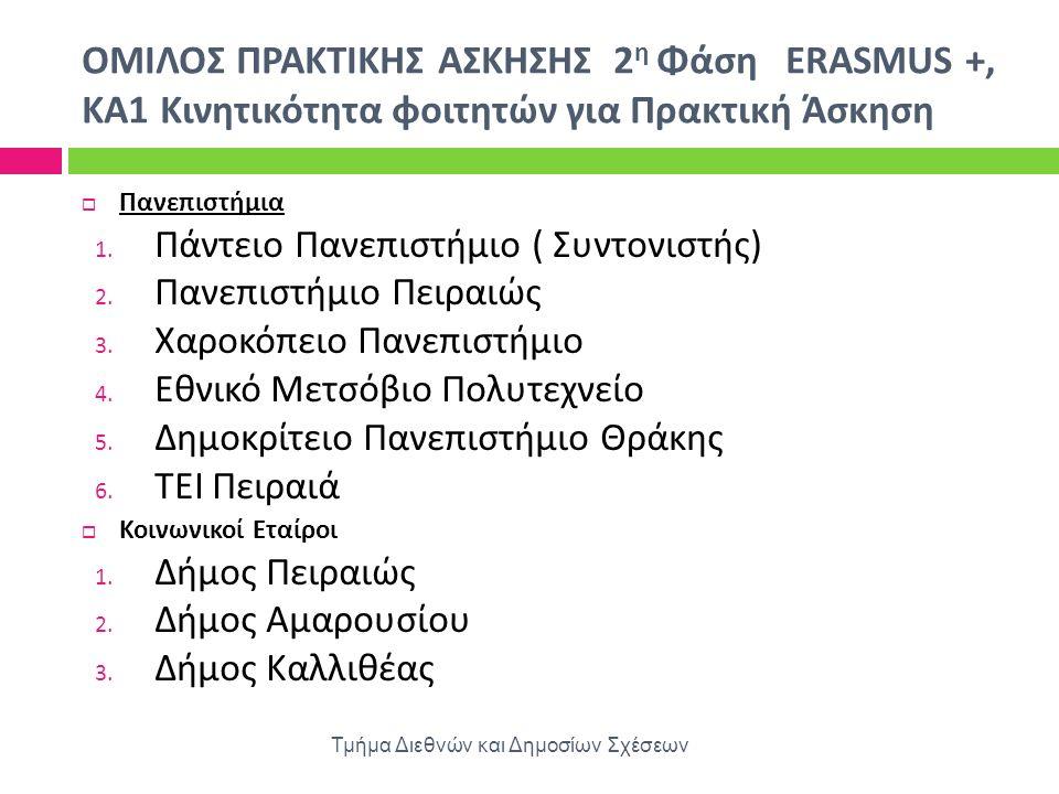 OΜΙΛΟΣ ΠΡΑΚΤΙΚΗΣ ΑΣΚΗΣΗΣ 2 η Φάση ERASMUS +, KA 1 Κινητικότητα φοιτητών για Πρακτική Άσκηση Τμήμα Διεθνών και Δημοσίων Σχέσεων  Πανεπιστήμια 1. Πάντε