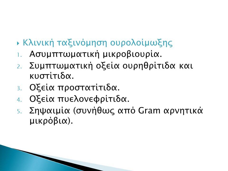  Κλινική ταξινόμηση ουρολοίμωξης 1. Ασυμπτωματική μικροβιουρία.