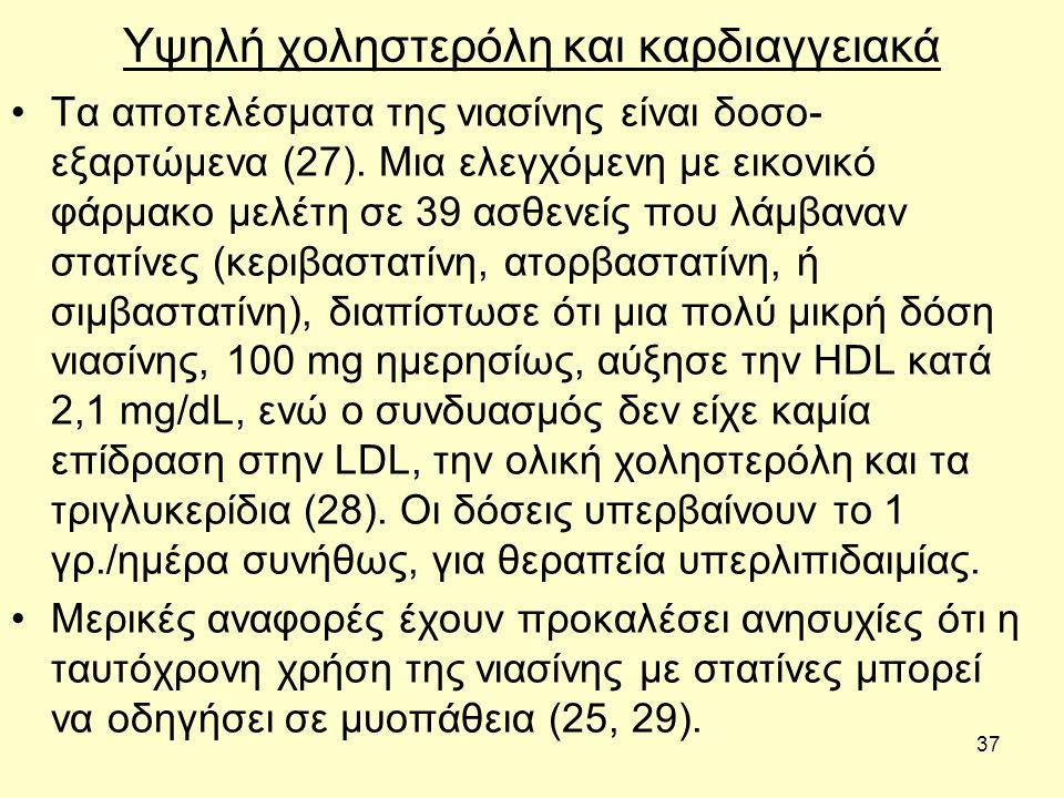 37 Υψηλή χοληστερόλη και καρδιαγγειακά Τα αποτελέσματα της νιασίνης είναι δοσο- εξαρτώμενα (27).