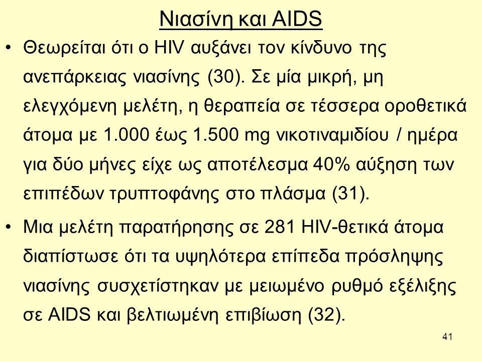 41 Νιασίνη και AIDS Θεωρείται ότι ο HIV αυξάνει τον κίνδυνο της ανεπάρκειας νιασίνης (30).