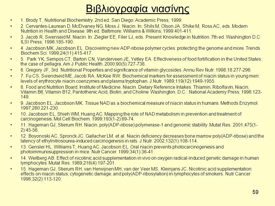 59 Βιβλιογραφία νιασίνης 1. Brody T. Nutritional Biochemistry.