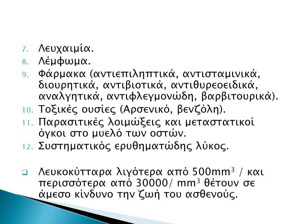 7. Λευχαιμία. 8. Λέμφωμα. 9. Φάρμακα (αντιεπιληπτικά, αντισταμινικά, διουρητικά, αντιβιοτικά, αντιθυρεοειδικά, αναλγητικά, αντιφλεγμονώδη, βαρβιτουρικ
