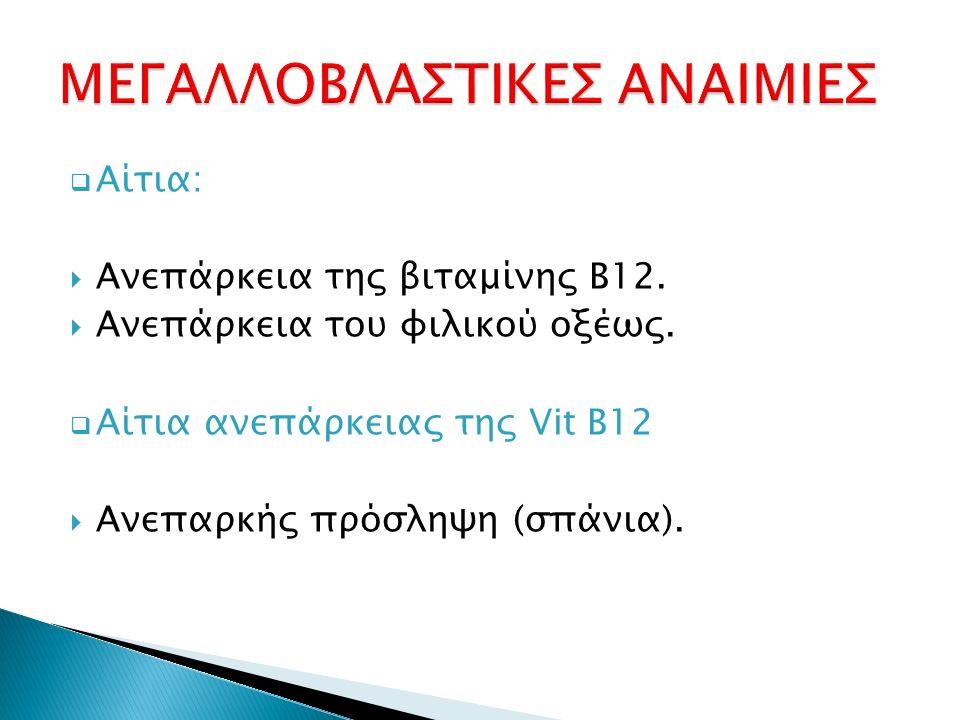  Αίτια:  Ανεπάρκεια της βιταμίνης Β12.  Ανεπάρκεια του φιλικού οξέως.  Αίτια ανεπάρκειας της Vit B12  Ανεπαρκής πρόσληψη (σπάνια).