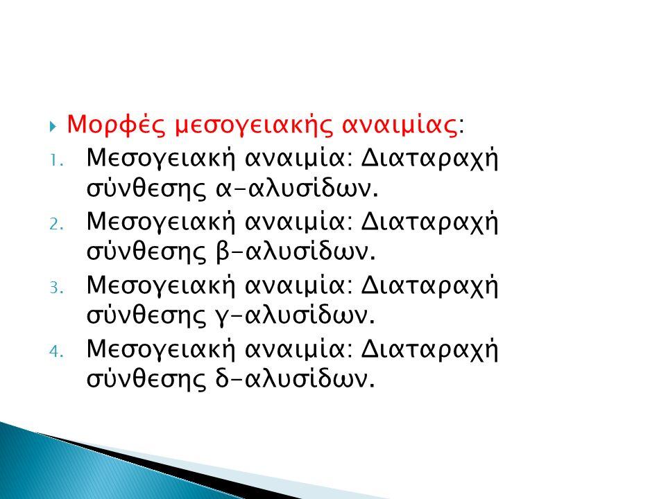  Μορφές μεσογειακής αναιμίας: 1. Μεσογειακή αναιμία: Διαταραχή σύνθεσης α-αλυσίδων. 2. Μεσογειακή αναιμία: Διαταραχή σύνθεσης β-αλυσίδων. 3. Μεσογεια