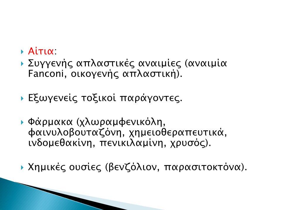  Αίτια:  Συγγενής απλαστικές αναιμίες (αναιμία Fanconi, οικογενής απλαστική).  Εξωγενείς τοξικοί παράγοντες.  Φάρμακα (χλωραμφενικόλη, φαινυλοβουτ