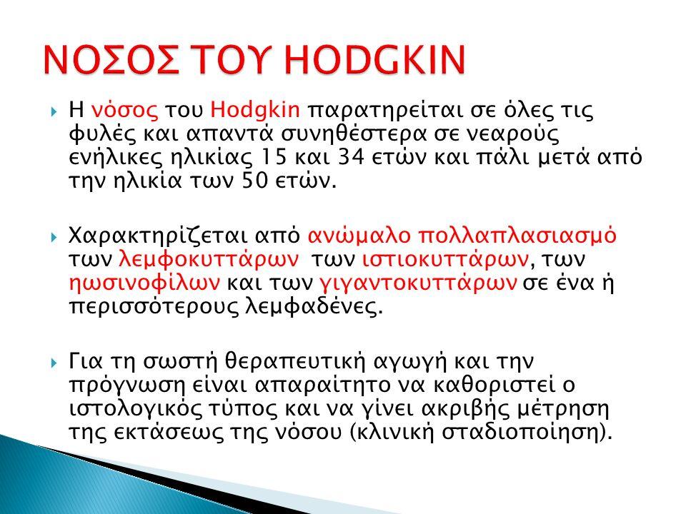  Η νόσος του Hodgkin παρατηρείται σε όλες τις φυλές και απαντά συνηθέστερα σε νεαρούς ενήλικες ηλικίας 15 και 34 ετών και πάλι μετά από την ηλικία τω