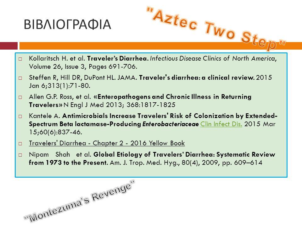 ΒΙΒΛΙΟΓΡΑΦΙΑ  Kollaritsch H. et al. Traveler's Diarrhea. Infectious Disease Clinics of North America, Volume 26, Issue 3, Pages 691-706.  Steffen R,