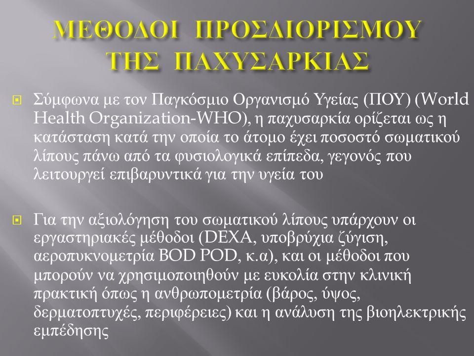  Σύμφωνα με τον Παγκόσμιο Οργανισμό Υγείας ( ΠΟΥ ) (World Health Organization-WHO), η παχυσαρκία ορίζεται ως η κατάσταση κατά την οποία το άτομο έχει