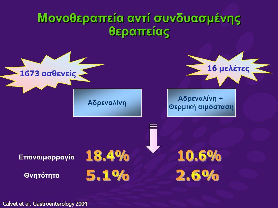 Calvet et al, Gastroenterology 2004 Αδρεναλίνη Αδρεναλίνη + Θερμική αιμόσταση 1673 ασθενείς Επαναιμορραγία 16 μελέτες Θνητότητα Μονοθεραπεία αντί συνδυασμένης θεραπείας