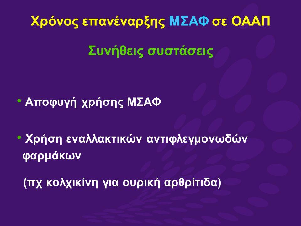 Χρόνος επανέναρξης MΣΑΦ σε ΟΑΑΠ Συνήθεις συστάσεις Αποφυγή χρήσης ΜΣΑΦ Χρήση εναλλακτικών αντιφλεγμονωδών φαρμάκων (πχ κολχικίνη για ουρική αρθρίτιδα)