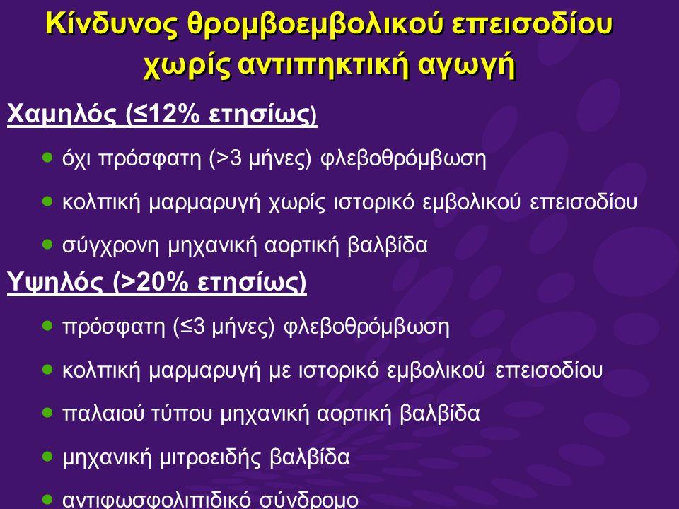 Κίνδυνος θρομβοεμβολικού επεισοδίου χωρίς αντιπηκτική αγωγή Χαμηλός (≤12% ετησίως )  όχι πρόσφατη (>3 μήνες) φλεβοθρόμβωση  κολπική μαρμαρυγή χωρίς ιστορικό εμβολικού επεισοδίου  σύγχρονη μηχανική αορτική βαλβίδα Υψηλός (>20% ετησίως)  πρόσφατη (≤3 μήνες) φλεβοθρόμβωση  κολπική μαρμαρυγή με ιστορικό εμβολικού επεισοδίου  παλαιού τύπου μηχανική αορτική βαλβίδα  μηχανική μιτροειδής βαλβίδα  αντιφωσφολιπιδικό σύνδρομο