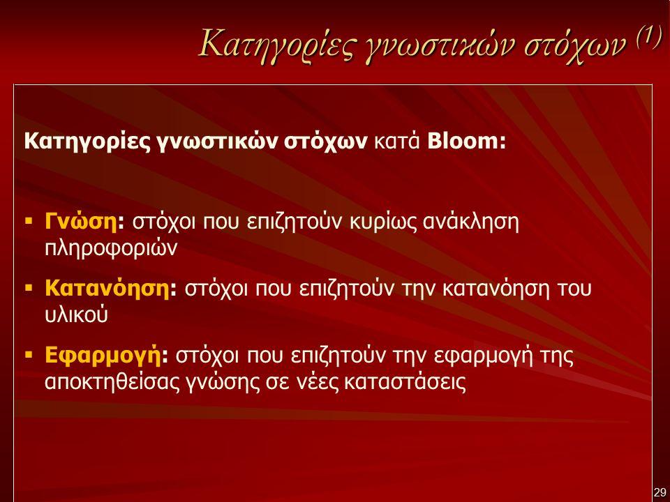 29 Κατηγορίες γνωστικών στόχων (1) Κατηγορίες γνωστικών στόχων κατά Bloom:  Γνώση: στόχοι που επιζητούν κυρίως ανάκληση πληροφοριών  Κατανόηση: στόχ