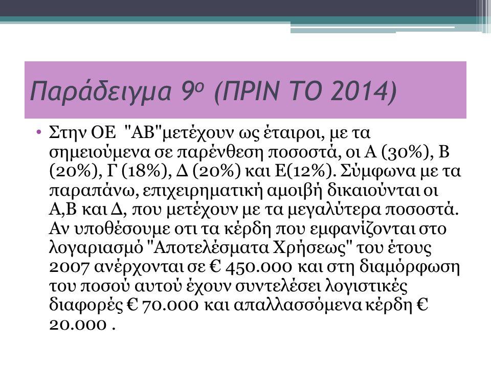Παράδειγμα 9 ο (ΠΡΙΝ ΤΟ 2014) Στην ΟΕ ΑΒ μετέχουν ως έταιροι, με τα σημειούμενα σε παρένθεση ποσοστά, οι Α (30%), Β (20%), Γ (18%), Δ (20%) και Ε(12%).