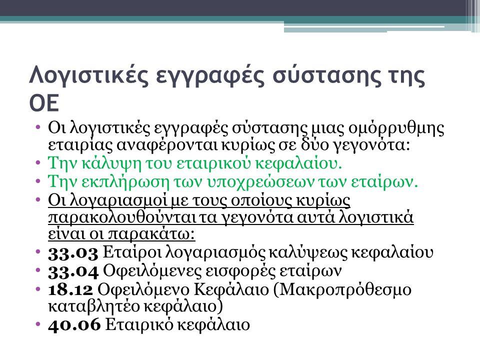 Λογιστικές εγγραφές σύστασης της ΟΕ Οι λογιστικές εγγραφές σύστασης µιας οµόρρυθµης εταιρίας αναφέρονται κυρίως σε δύο γεγονότα: Την κάλυψη του εταιρι