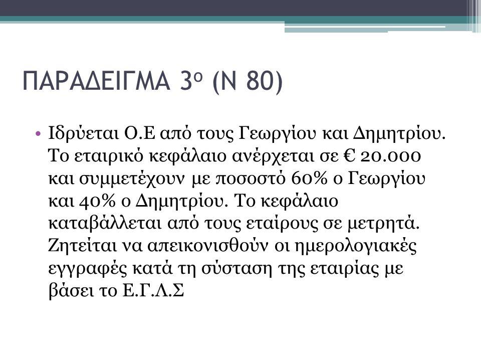 ΠΑΡΑΔΕΙΓΜΑ 3 ο (Ν 80) Ιδρύεται Ο.Ε από τους Γεωργίου και Δημητρίου. Το εταιρικό κεφάλαιο ανέρχεται σε € 20.000 και συμμετέχουν με ποσοστό 60% ο Γεωργί