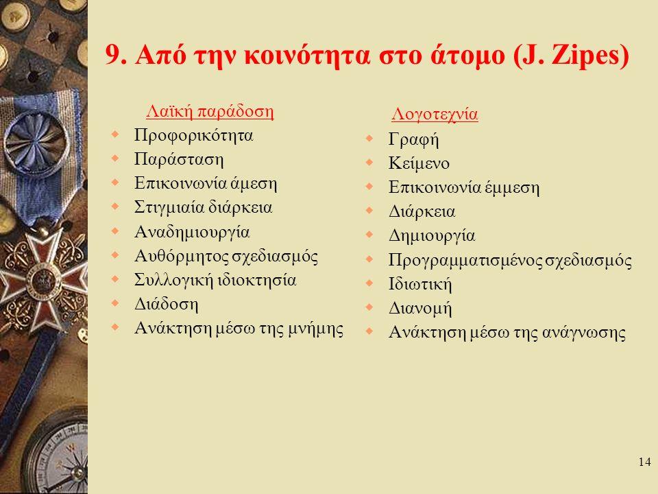 8. Καταγραφή – μελέτη των ελληνικών παραμυθιών  Οι πρώτες καταγραφές γίνονται από ξένους (Johan von Hahn,1864, Bernhard Schmidt, 1877, κ.α.).  Και τ