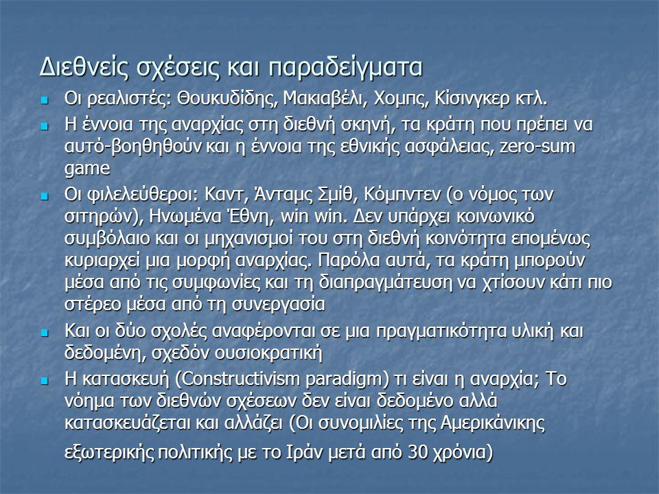 Διεθνείς σχέσεις και παραδείγματα Οι ρεαλιστές: Θουκυδίδης, Μακιαβέλι, Χομπς, Κίσινγκερ κτλ.
