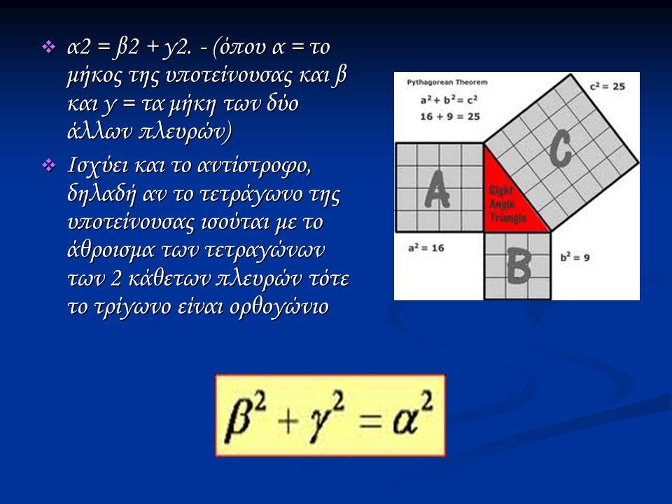  α2 = β2 + γ2.