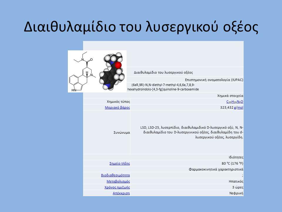 Διαιθυλαμίδιο του λυσεργικού οξέος Επιστημονική ονοματολογία (IUPAC) (6aR,9R)-N,N-diethyl-7-methyl-4,6,6a,7,8,9- hexahydroindolo-[4,3-fg]quinoline-9-carboxamide Χημικά στοιχεία Χημικός τύποςC C 20 H 25 N 3 Ο H N Ο Μοριακό βάρος323,432 g/molgmol Συνώνυμα LSD, LSD-25, λυσερπίδιο, διαιθυλαμιδικό D-λυσεργικό οξύ, N, Ν- διαιθυλαμίδιο του D-λυσεργινικού οξέος, διαιθυλαμίδη του d- λυσεργικού οξέoς, λυσεργίδη.