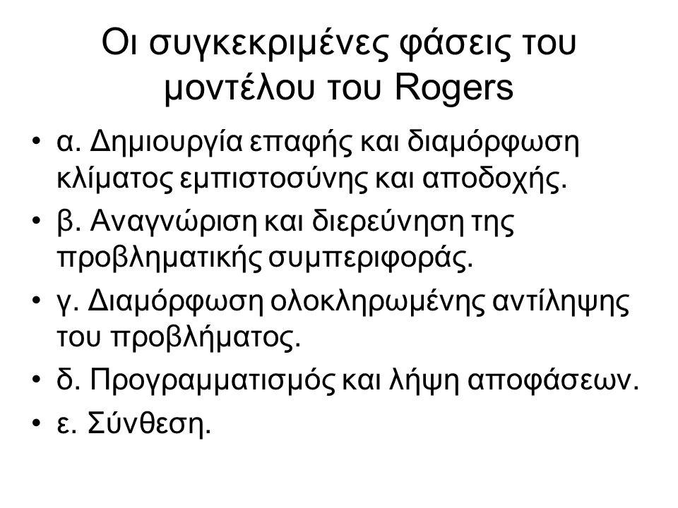 Οι συγκεκριμένες φάσεις του μοντέλου του Rogers α. Δημιουργία επαφής και διαμόρφωση κλίματος εμπιστοσύνης και αποδοχής. β. Αναγνώριση και διερεύνηση τ