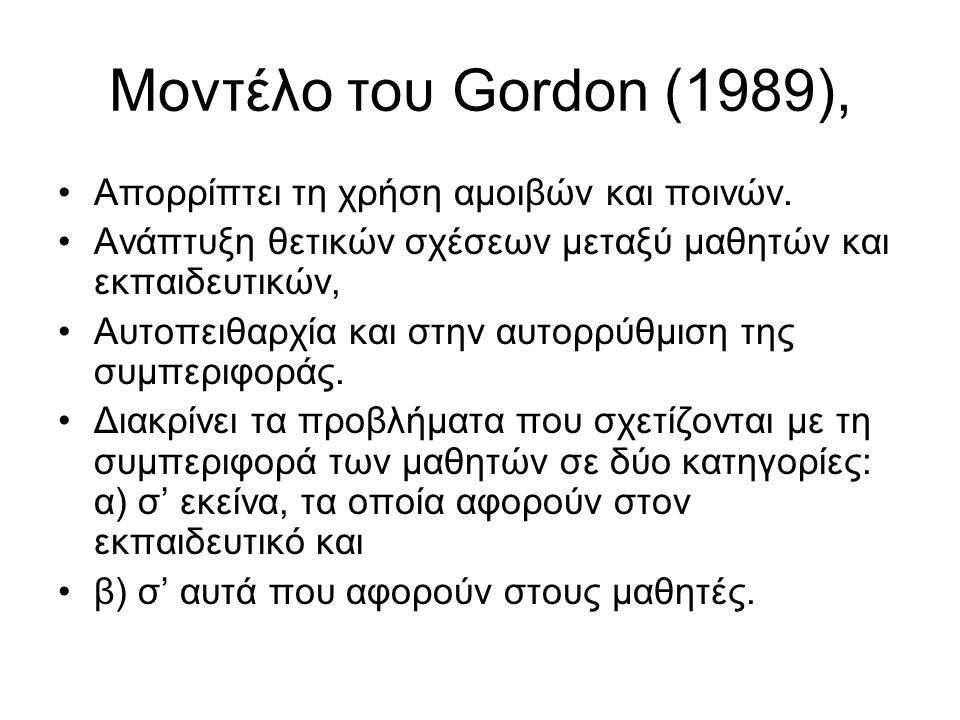 Μοντέλο του Gordon (1989), Απορρίπτει τη χρήση αμοιβών και ποινών. Ανάπτυξη θετικών σχέσεων μεταξύ μαθητών και εκπαιδευτικών, Αυτοπειθαρχία και στην α