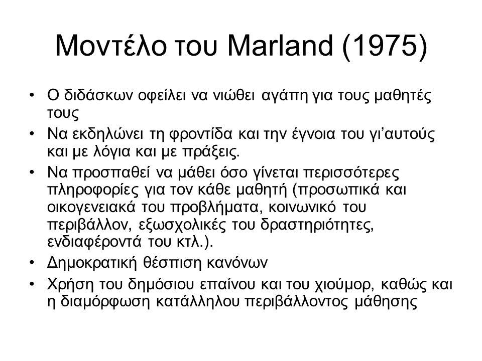 Μοντέλο του Marland (1975) Ο διδάσκων οφείλει να νιώθει αγάπη για τους μαθητές τους Να εκδηλώνει τη φροντίδα και την έγνοια του γι'αυτούς και με λόγια