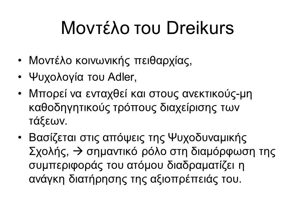 Μοντέλο του Dreikurs Μοντέλο κοινωνικής πειθαρχίας, Ψυχολογία του Adler, Μπορεί να ενταχθεί και στους ανεκτικούς-μη καθοδηγητικούς τρόπους διαχείρισης