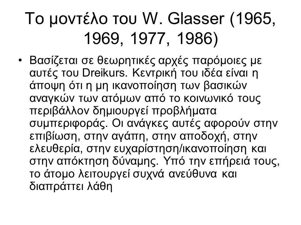 To μοντέλο του W. Glasser (1965, 1969, 1977, 1986) Βασίζεται σε θεωρητικές αρχές παρόμοιες με αυτές του Dreikurs. Κεντρική του ιδέα είναι η άποψη ότι