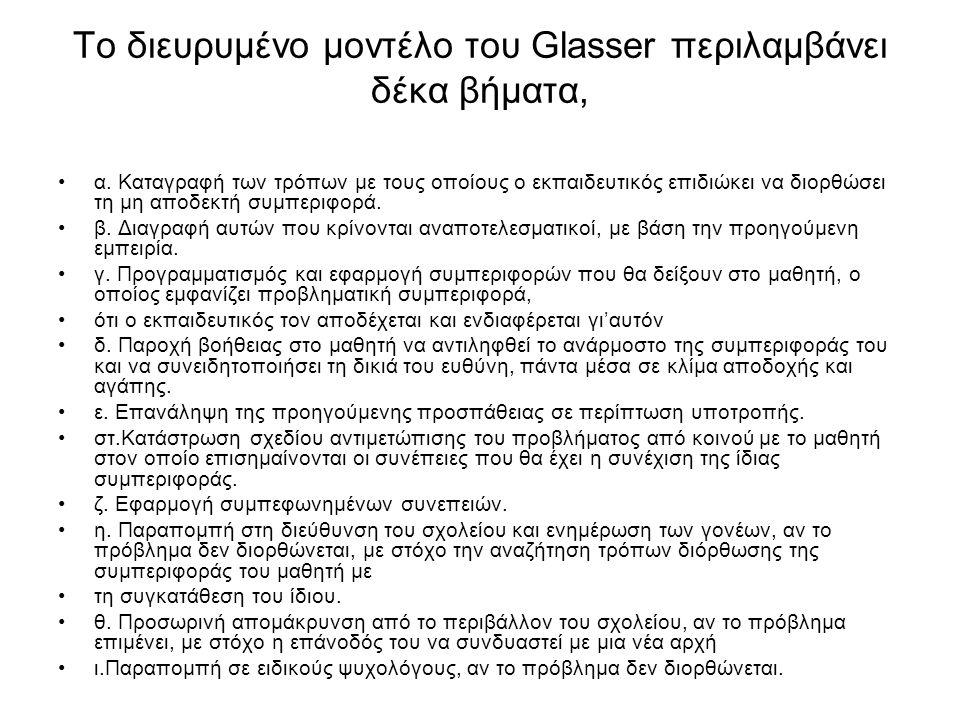 Το διευρυμένο μοντέλο του Glasser περιλαμβάνει δέκα βήματα, α. Καταγραφή των τρόπων με τους οποίους ο εκπαιδευτικός επιδιώκει να διορθώσει τη μη αποδε