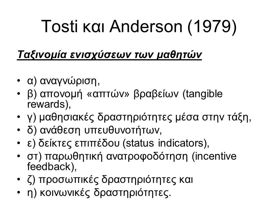 Tosti και Anderson (1979) Ταξινομία ενισχύσεων των μαθητών α) αναγνώριση, β) απονομή «απτών» βραβείων (tangible rewards), γ) μαθησιακές δραστηριότητες μέσα στην τάξη, δ) ανάθεση υπευθυνοτήτων, ε) δείκτες επιπέδου (status indicators), στ) παρωθητική ανατροφοδότηση (incentive feedback), ζ) προσωπικές δραστηριότητες και η) κοινωνικές δραστηριότητες.