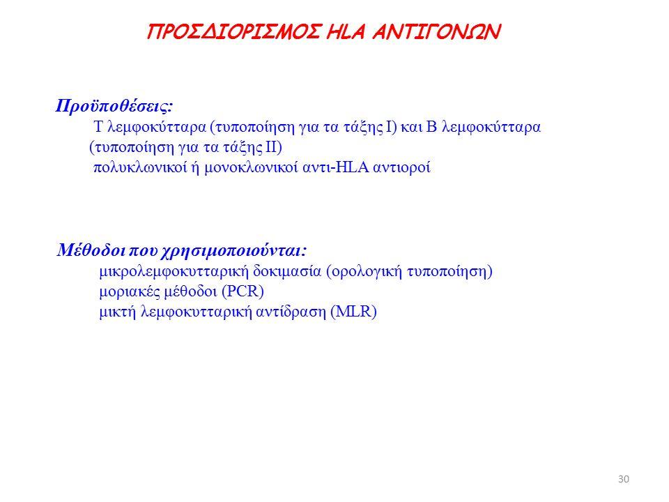Προϋποθέσεις: Τ λεμφοκύτταρα (τυποποίηση για τα τάξης Ι) και Β λεμφοκύτταρα (τυποποίηση για τα τάξης ΙΙ) πολυκλωνικοί ή μονοκλωνικοί αντι-HLA αντιοροί Μέθοδοι που χρησιμοποιούνται: μικρολεμφοκυτταρική δοκιμασία (ορολογική τυποποίηση) μοριακές μέθοδοι (PCR) μικτή λεμφοκυτταρική αντίδραση (MLR) ΠΡΟΣΔΙΟΡΙΣΜΟΣ HLA ΑΝΤΙΓΟΝΩΝ 30