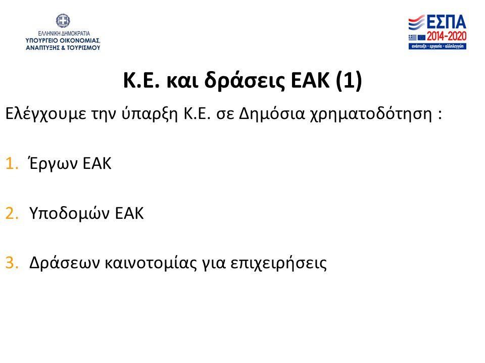 Κ.Ε. και δράσεις ΕΑΚ (1) Ελέγχουμε την ύπαρξη Κ.Ε. σε Δημόσια χρηματοδότηση : 1.Έργων ΕΑΚ 2.Υποδομών ΕΑΚ 3.Δράσεων καινοτομίας για επιχειρήσεις