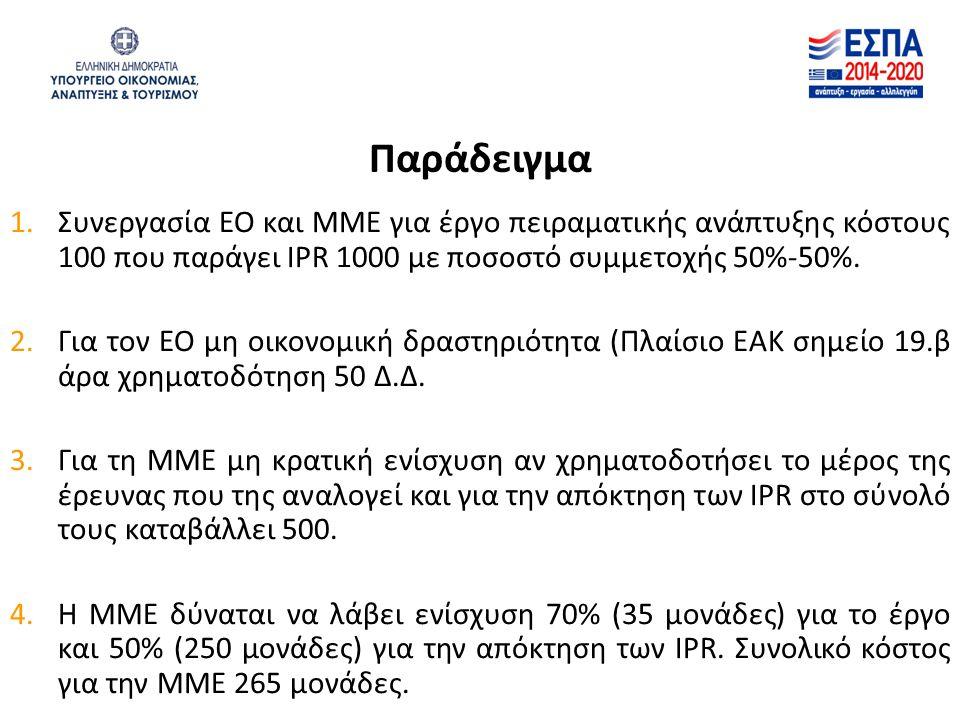 Παράδειγμα 1.Συνεργασία ΕΟ και ΜΜΕ για έργο πειραματικής ανάπτυξης κόστους 100 που παράγει IPR 1000 με ποσοστό συμμετοχής 50%-50%. 2.Για τον ΕΟ μη οικ