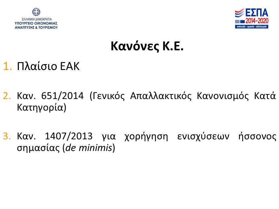 Κανόνες Κ.Ε. 1.Πλαίσιο ΕΑΚ 2.Καν. 651/2014 (Γενικός Απαλλακτικός Κανονισμός Κατά Κατηγορία) 3.Καν. 1407/2013 για χορήγηση ενισχύσεων ήσσονος σημασίας