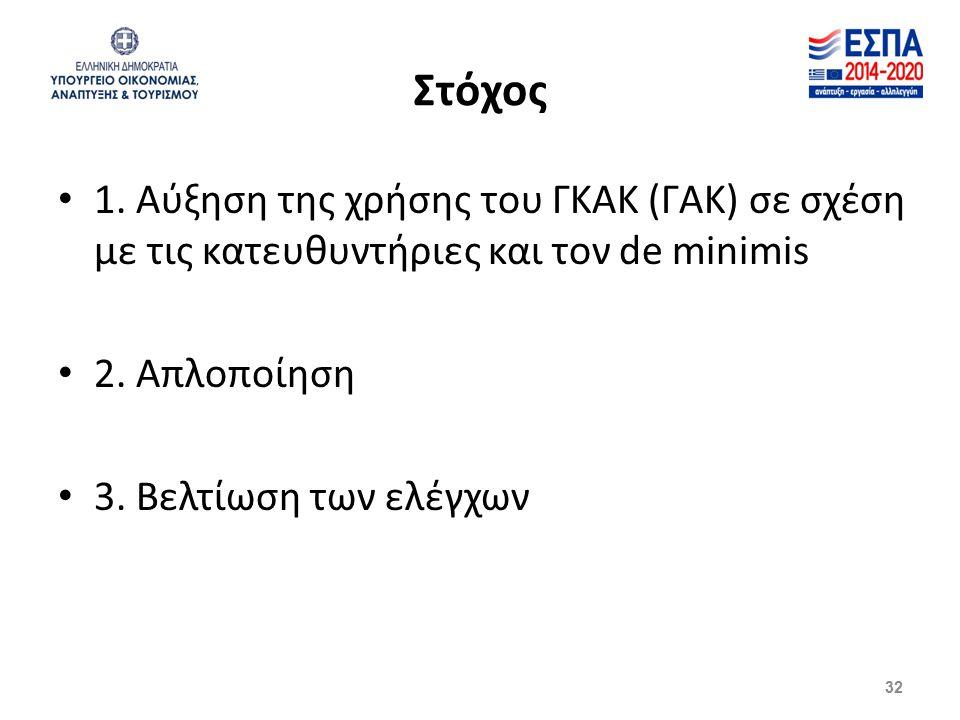 Στόχος 1. Αύξηση της χρήσης του ΓΚΑΚ (ΓΑΚ) σε σχέση με τις κατευθυντήριες και τον de minimis 2. Απλοποίηση 3. Βελτίωση των ελέγχων 32
