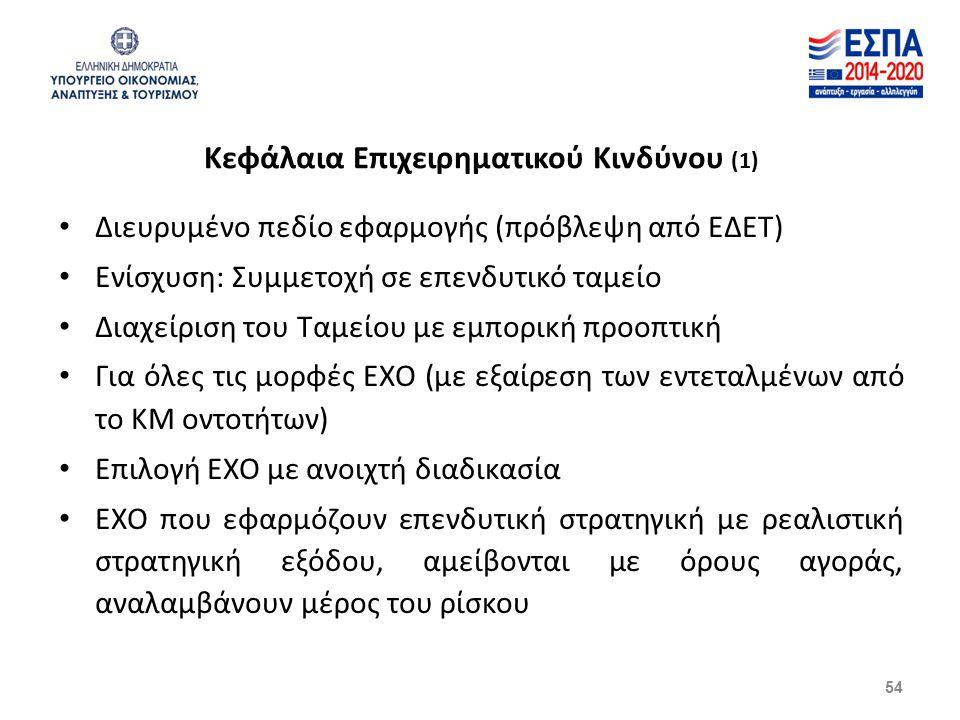 Κεφάλαια Επιχειρηματικού Κινδύνου (1) Διευρυμένο πεδίο εφαρμογής (πρόβλεψη από ΕΔΕΤ) Ενίσχυση: Συμμετοχή σε επενδυτικό ταμείο Διαχείριση του Ταμείου με εμπορική προοπτική Για όλες τις μορφές ΕΧΟ (με εξαίρεση των εντεταλμένων από το ΚΜ οντοτήτων) Επιλογή ΕΧΟ με ανοιχτή διαδικασία ΕΧΟ που εφαρμόζουν επενδυτική στρατηγική με ρεαλιστική στρατηγική εξόδου, αμείβονται με όρους αγοράς, αναλαμβάνουν μέρος του ρίσκου 54